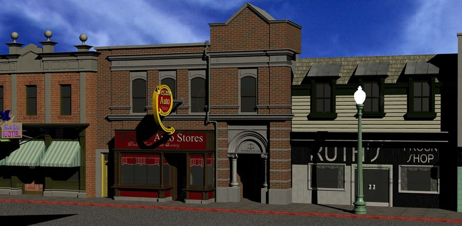 Hill Valley - Western Auto Stores royalty-free 3d model - Preview no. 1