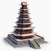 Big Chinese Pagoda Tower 3d model