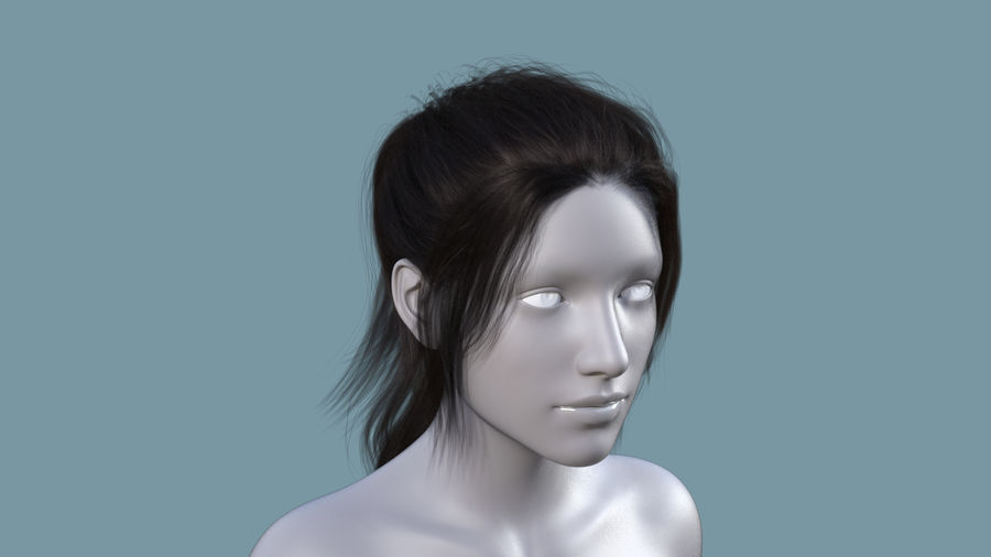 Realistic Female Polygon Long Hair 6 royalty-free 3d model - Preview no. 1