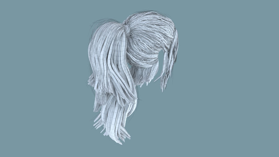 Realistic Female Polygon Long Hair 6 royalty-free 3d model - Preview no. 10