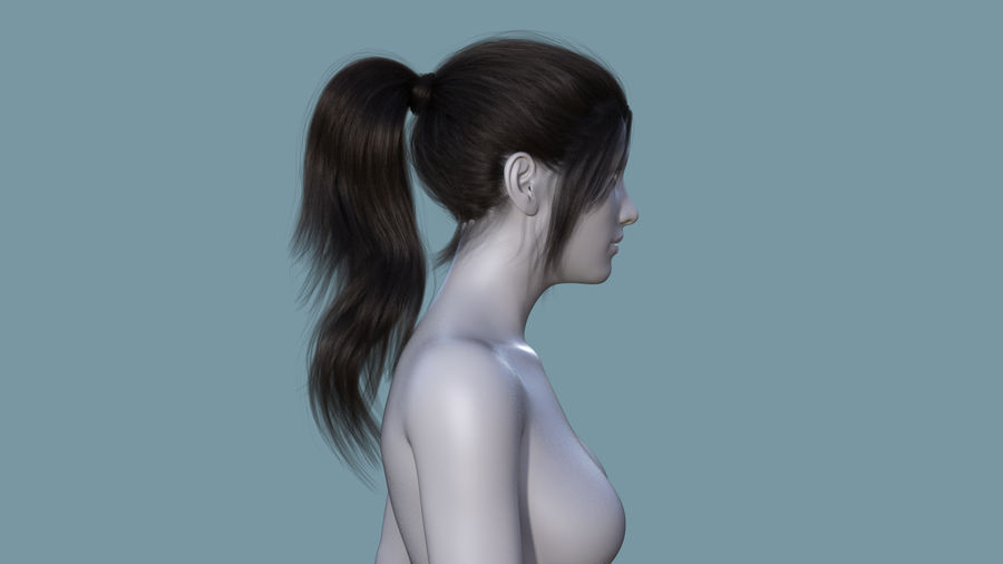 Realistic Female Polygon Long Hair 6 royalty-free 3d model - Preview no. 5