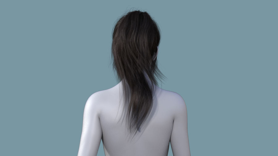 Realistic Female Polygon Long Hair 6 royalty-free 3d model - Preview no. 4