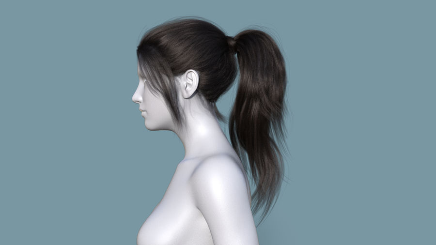 Realistic Female Polygon Long Hair 6 royalty-free 3d model - Preview no. 3