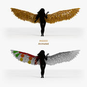 Golden Angel Wings - Animated Rigged 3d model