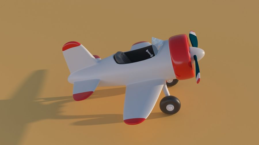 Cartoon Toy Airplane royalty-free 3d model - Preview no. 11