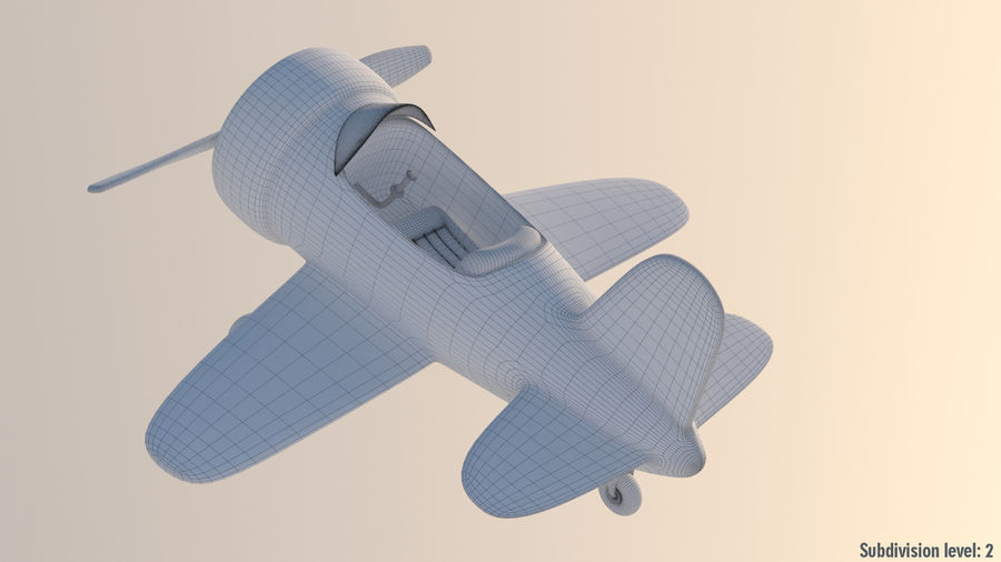 Cartoon Toy Airplane royalty-free 3d model - Preview no. 9