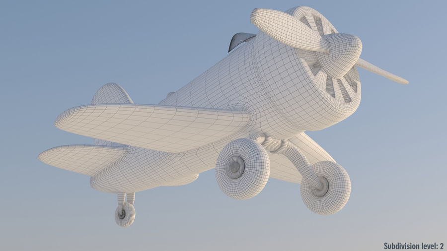 Cartoon Toy Airplane royalty-free 3d model - Preview no. 4