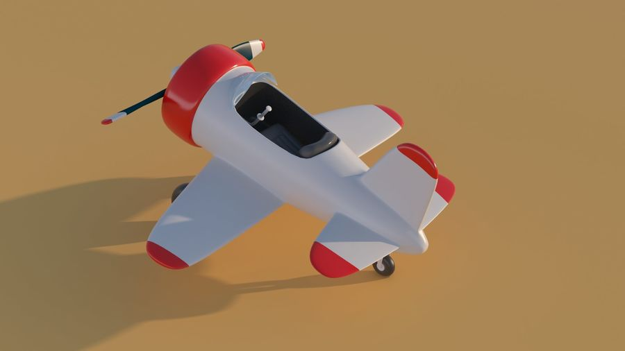 Cartoon Toy Airplane royalty-free 3d model - Preview no. 12