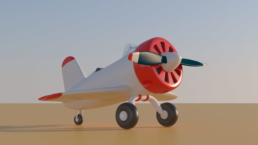 Cartoon Toy Airplane royalty-free 3d model - Preview no. 3