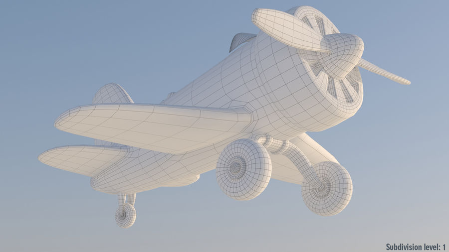 Cartoon Toy Airplane royalty-free 3d model - Preview no. 5