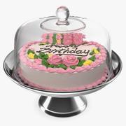 Suporte de bolo de metal com bolo de aniversário 3d model