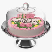 Cake Stand Metal with Birthday Cake 3d model