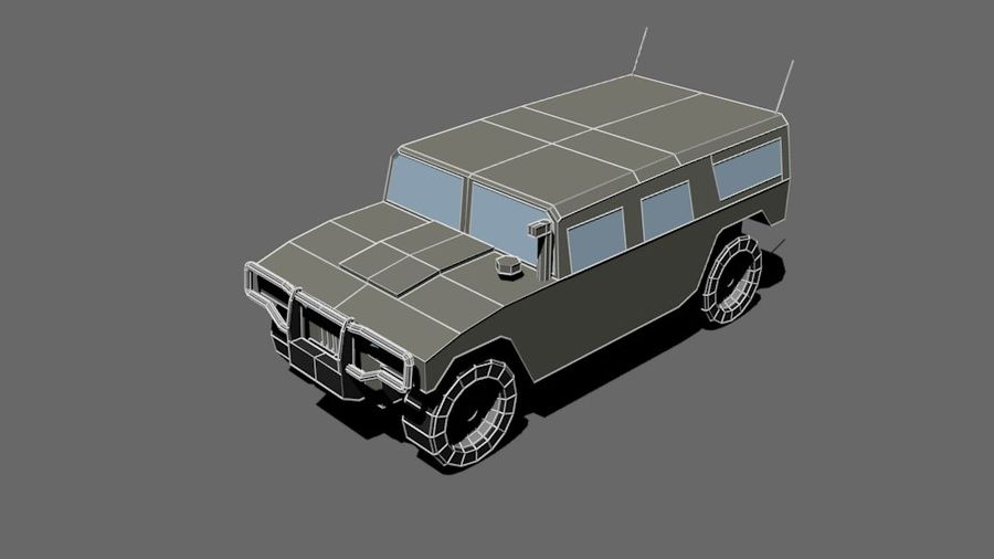 Humvee Low Poly royalty-free 3d model - Preview no. 2