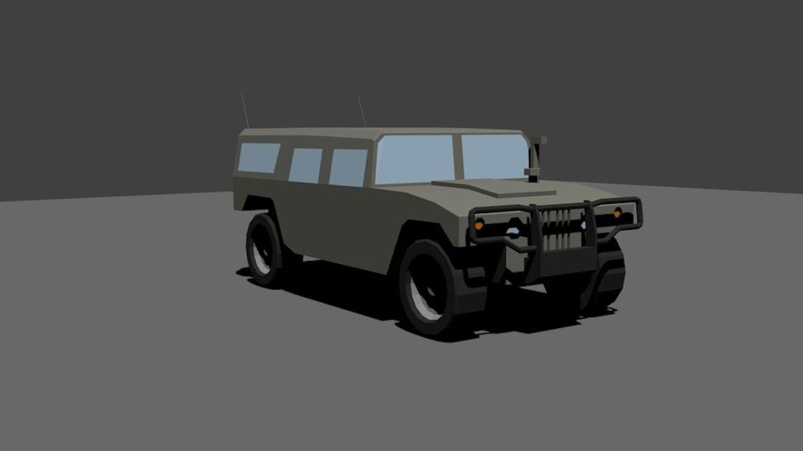 Humvee Low Poly royalty-free 3d model - Preview no. 3
