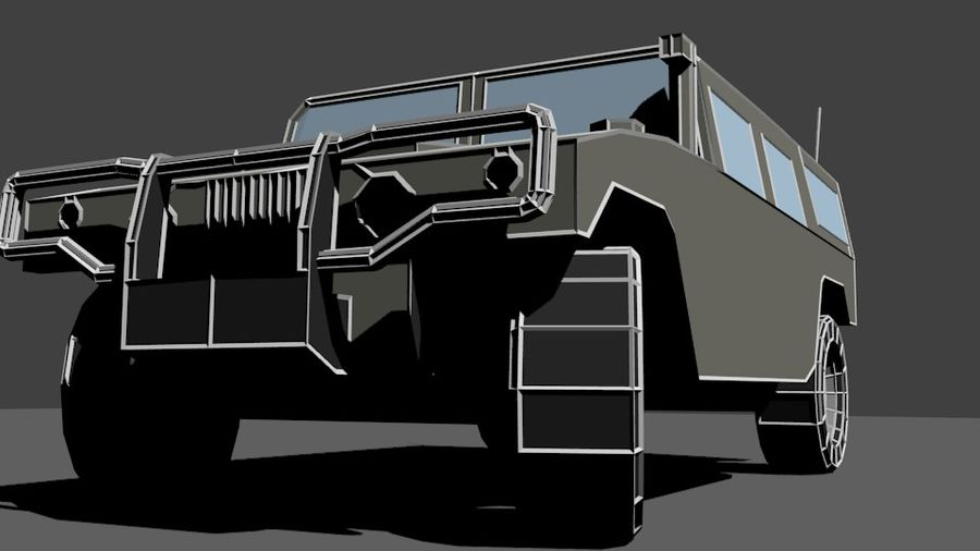 Humvee Low Poly royalty-free 3d model - Preview no. 8