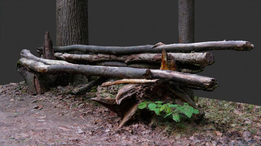 Banco di tronchi nella foresta royalty-free 3d model - Preview no. 8