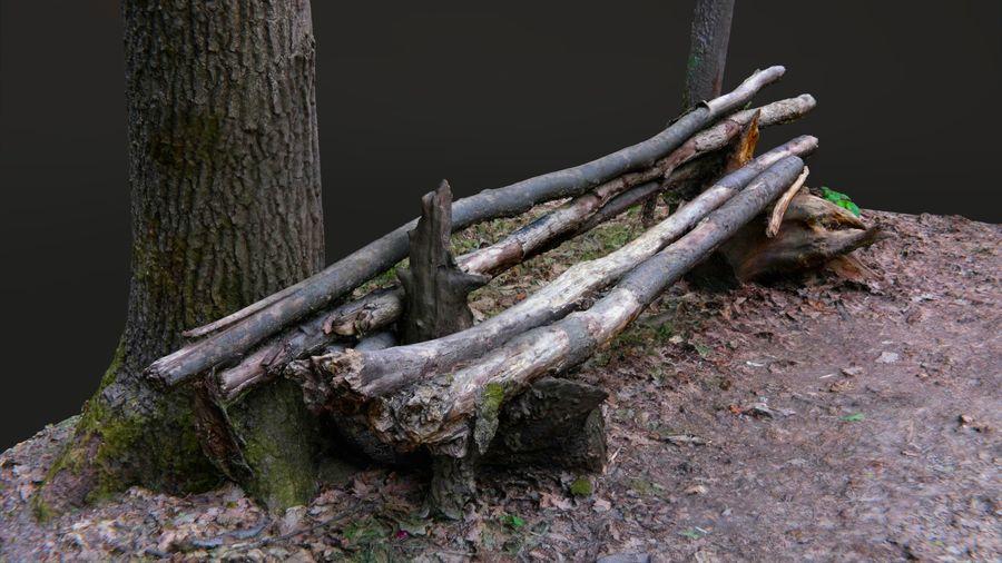 Banco di tronchi nella foresta royalty-free 3d model - Preview no. 3