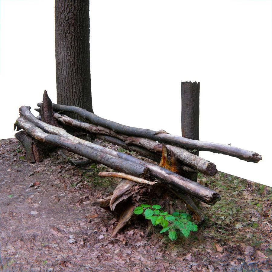 Banco di tronchi nella foresta royalty-free 3d model - Preview no. 1