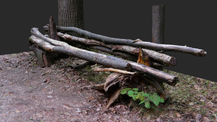 Banco di tronchi nella foresta royalty-free 3d model - Preview no. 2