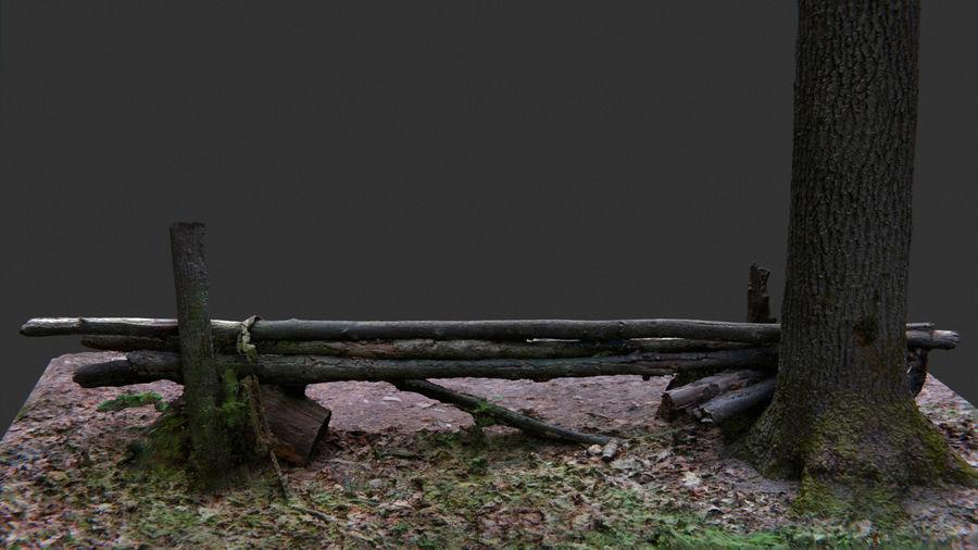 Banco di tronchi nella foresta royalty-free 3d model - Preview no. 6