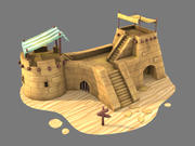 砂漠の前post 3d model