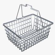 Empty Metal Shopping Basket 3d model