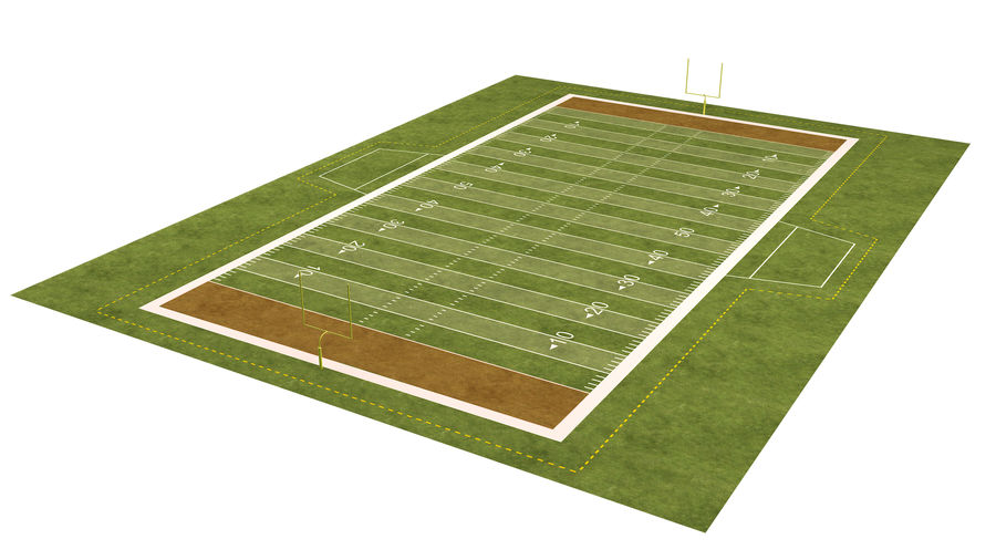 American Football Field And Soccer Field royalty-free 3d model - Preview no. 19