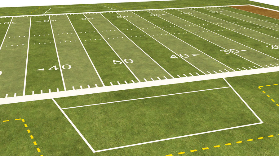 American Football Field And Soccer Field royalty-free 3d model - Preview no. 25