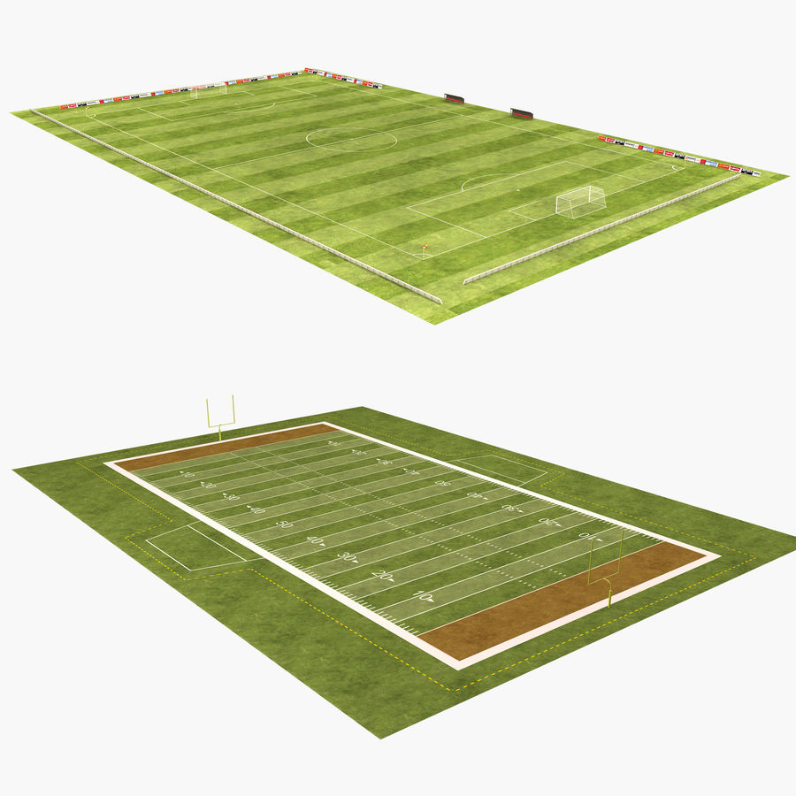 American Football Field And Soccer Field royalty-free 3d model - Preview no. 1
