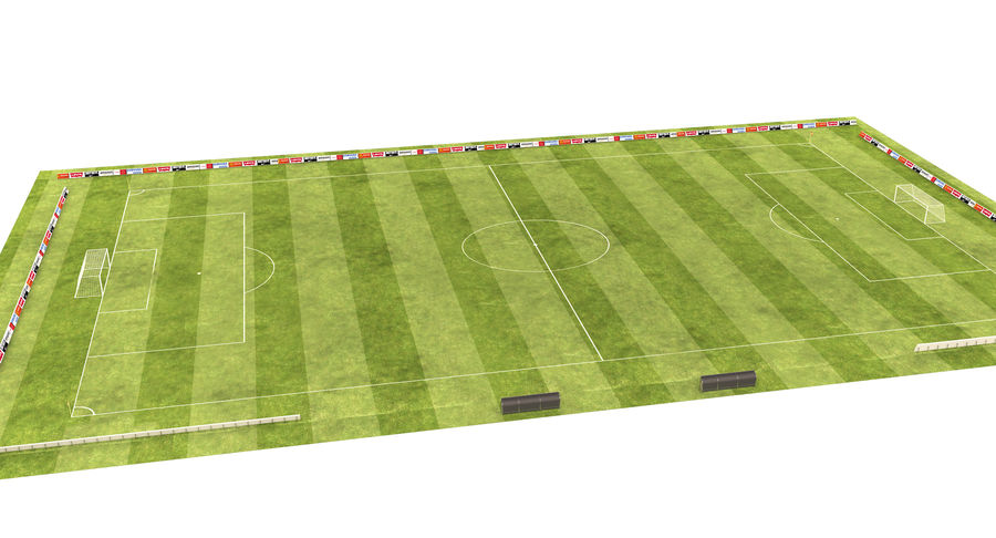 American Football Field And Soccer Field royalty-free 3d model - Preview no. 14