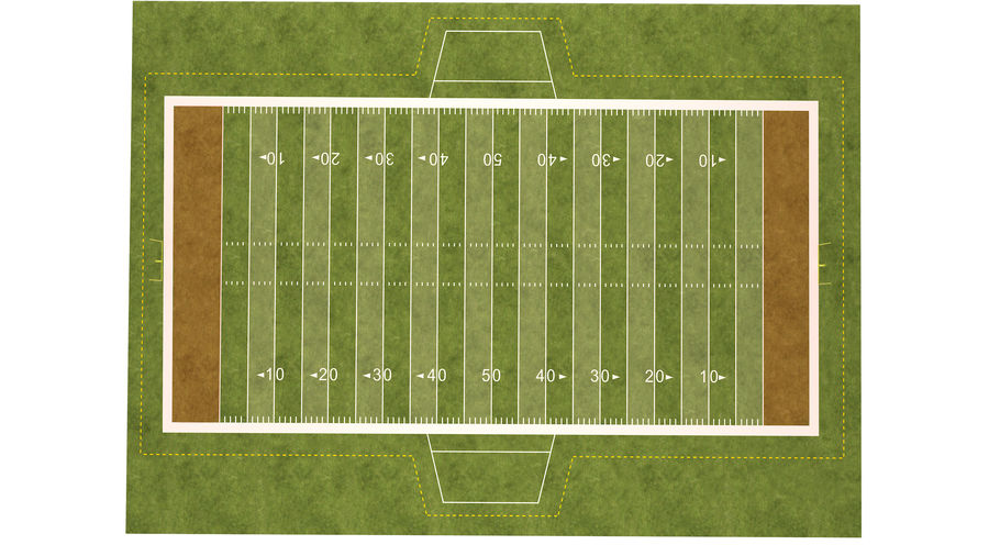 American Football Field And Soccer Field royalty-free 3d model - Preview no. 22