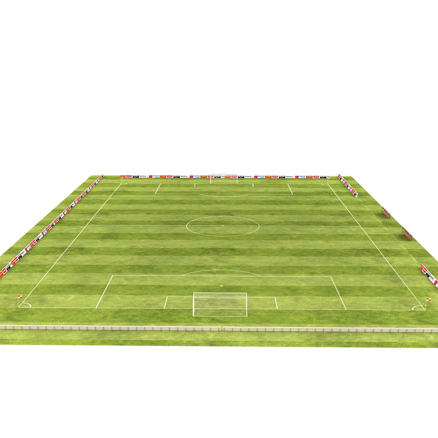 American Football Field And Soccer Field royalty-free 3d model - Preview no. 7