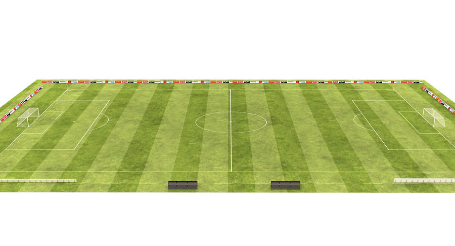 American Football Field And Soccer Field royalty-free 3d model - Preview no. 6