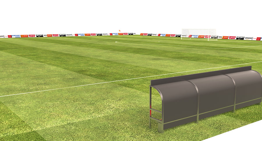 American Football Field And Soccer Field royalty-free 3d model - Preview no. 11