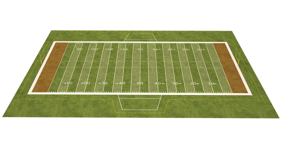 American Football Field And Soccer Field royalty-free 3d model - Preview no. 20