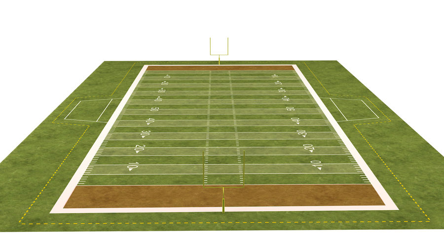 American Football Field And Soccer Field royalty-free 3d model - Preview no. 21