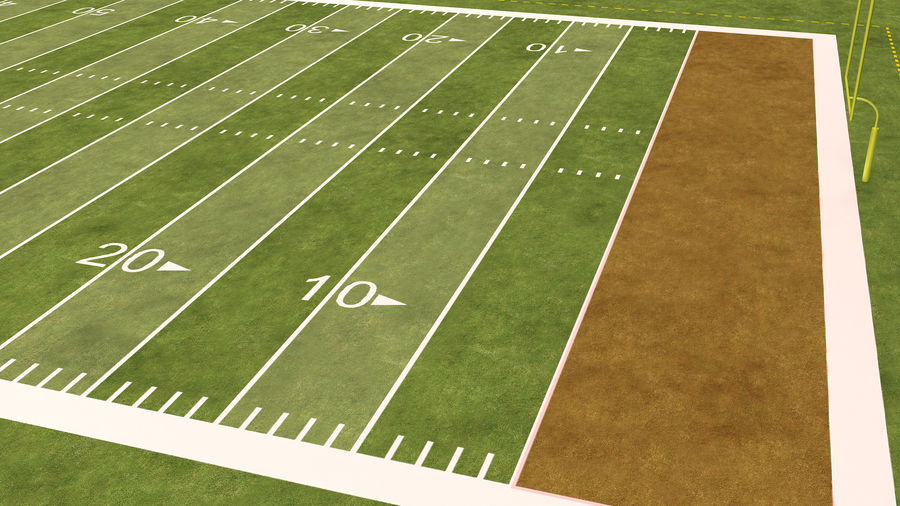 American Football Field And Soccer Field royalty-free 3d model - Preview no. 27