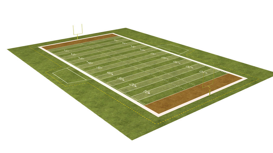 American Football Field And Soccer Field royalty-free 3d model - Preview no. 3
