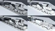 Train jouet en bois 3d model