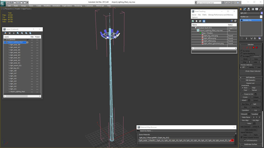 Airport Lighting Mast royalty-free 3d model - Preview no. 16