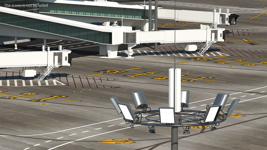 Airport Lighting Mast royalty-free 3d model - Preview no. 4