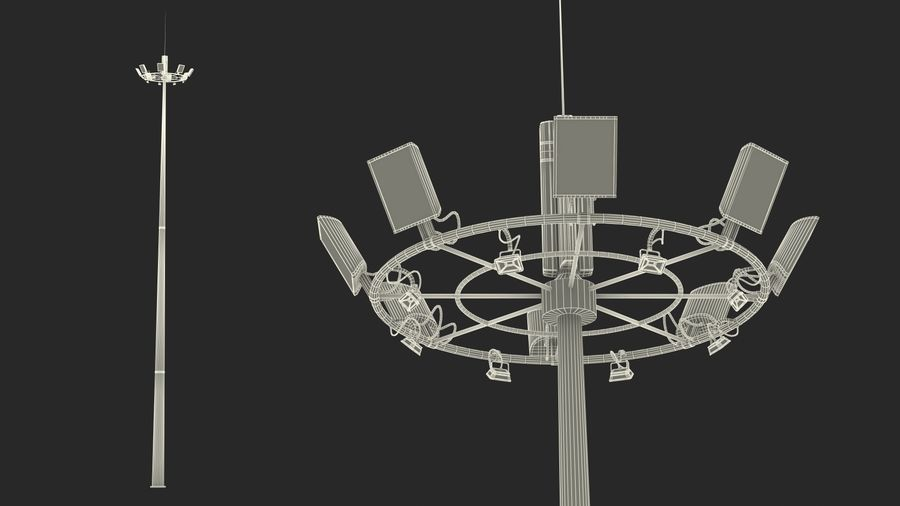 Airport Lighting Mast royalty-free 3d model - Preview no. 17