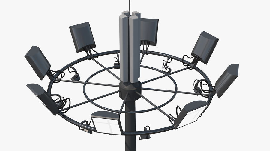 Airport Lighting Mast royalty-free 3d model - Preview no. 6