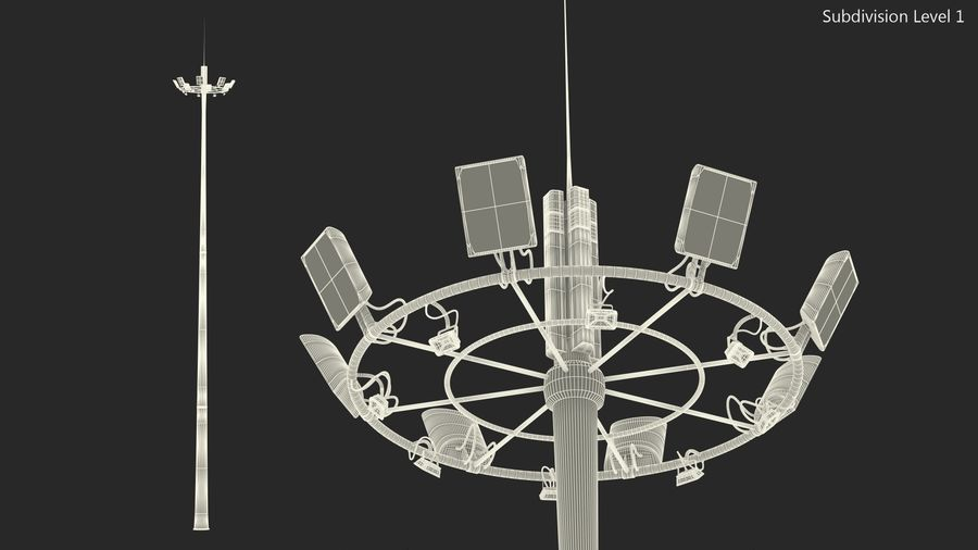 Airport Lighting Mast royalty-free 3d model - Preview no. 11