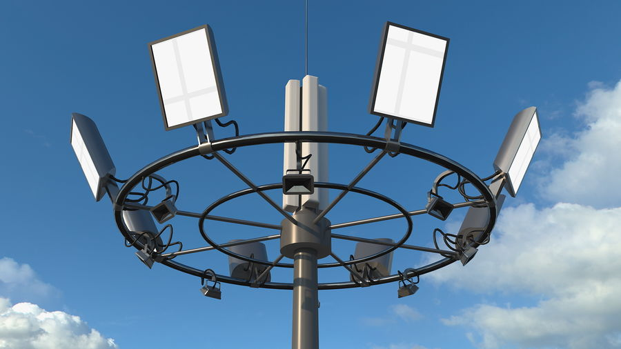 Airport Lighting Mast royalty-free 3d model - Preview no. 3