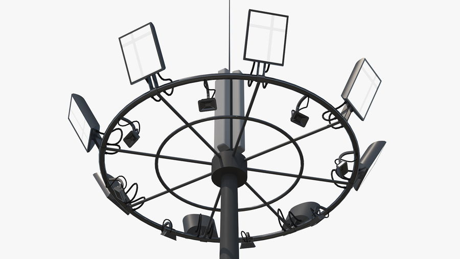 Airport Lighting Mast royalty-free 3d model - Preview no. 7