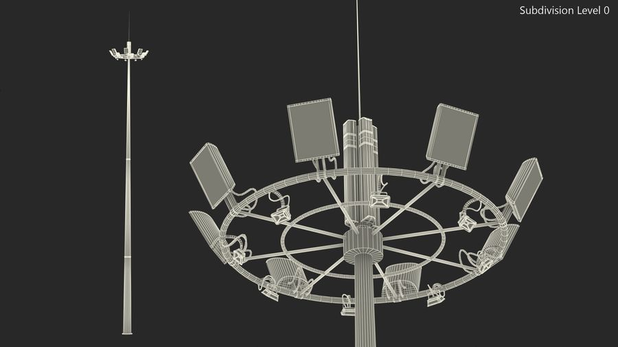 Airport Lighting Mast royalty-free 3d model - Preview no. 10