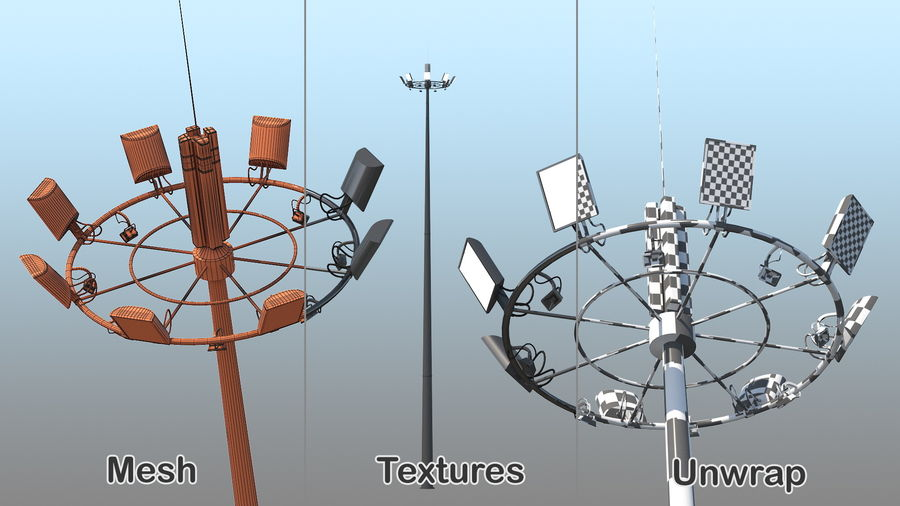 Airport Lighting Mast royalty-free 3d model - Preview no. 9