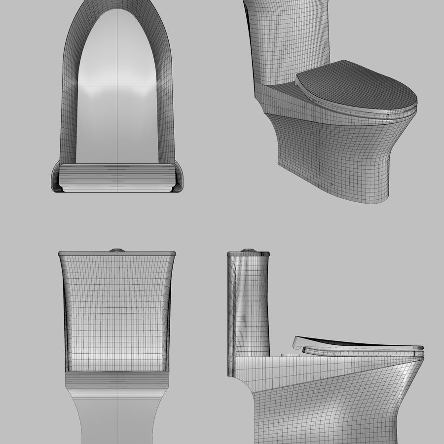 toilet(65) royalty-free 3d model - Preview no. 4