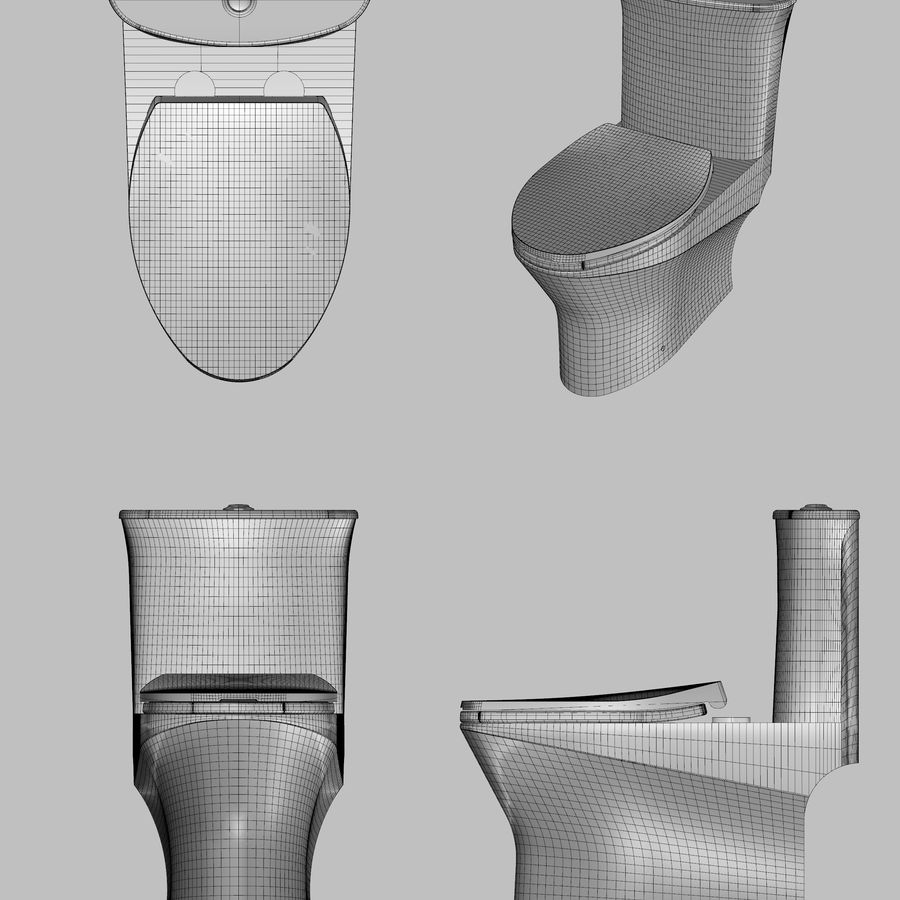 toilet(65) royalty-free 3d model - Preview no. 2